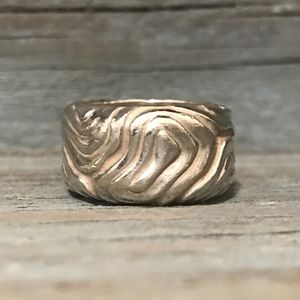 Tiffany & Co Sterling Silver Wood Grain Ring